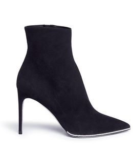 Faux Pearl Suede Ankle Boots
