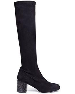 Strass Heel Suede Knee High Sock Boots