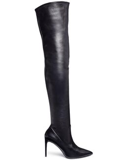 Strass Trim Over-the-knee Leather Sock Boots