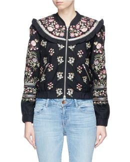 'victorian Folk' Floral Embroidered Bomber Jacket