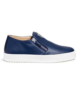 'may London' Double Zip Leather Skate Slip-ons