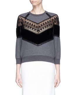 Guipure Lace And Velvet Panel Sweatshirt