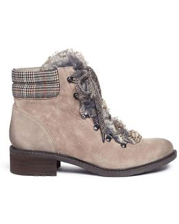 'darrah' Faux Fur And Suede Combat Boots