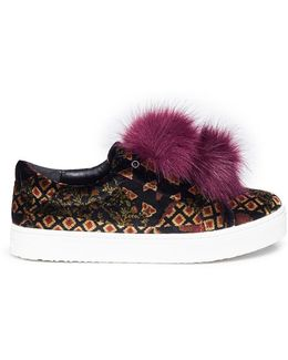'leya' Pompom Graphic Print Velvet Slip-on Sneakers