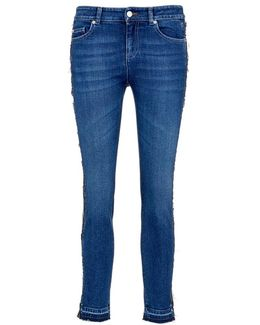 Reverse Outseam Letout Cuff Cropped Skinny Jeans