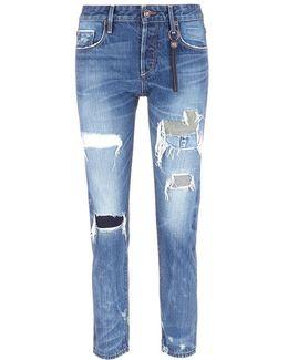 'savanna' Distressed Slim Cut Jeans