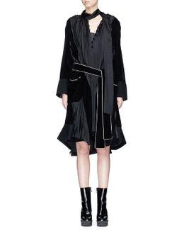 Velvet Trim Pleated Satin Shift Dress