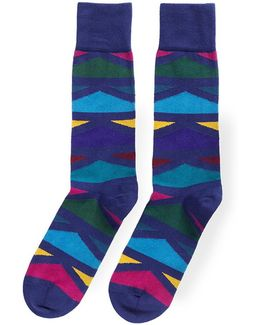 'jaggy' Geometric Intarsia Socks