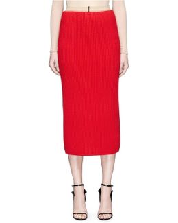 Wool-cashmere Rib Knit Midi Pencil Skirt