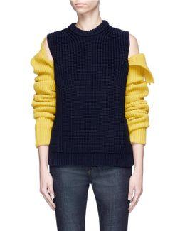 Cold Shoulder Colourblock Mixed Rib Knit Sweater