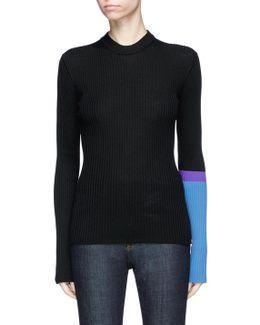 Brooke Shields Patch Colourblock Rib Knit Sweater
