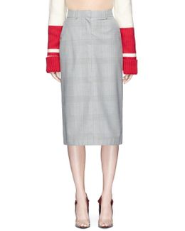 Houndstooth Check Plaid Wool Pencil Skirt