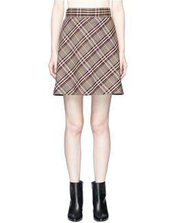 Check Plaid Virgin Wool Flared Mini Skirt