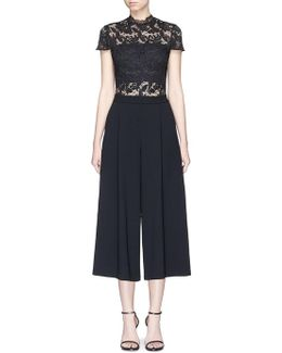 'elysia' Floral Lace Panel Pleated Gaucho Jumpsuit
