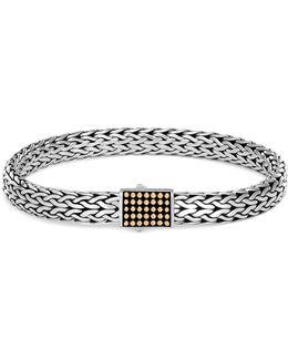 18k Yellow Gold Charm Silver Woven Chain Bracelet