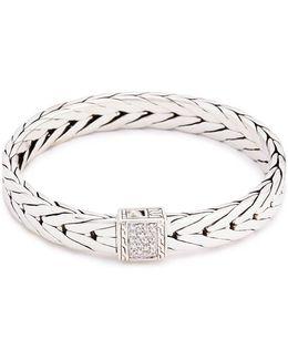 Diamond Silver Weave Effect Link Bracelet