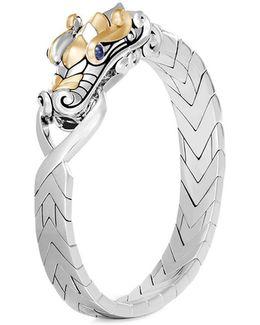Sapphire 18k Yellow Gold Silver Naga Bangle