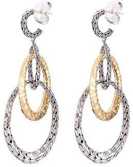 18k Yellow Gold Silver Hammered Chain Effect Interlocking Hoop Earrings