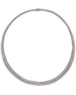 Silver Woven Chain Necklace