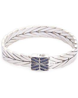 Sapphire Silver Weave Effect Link Chain Bracelet