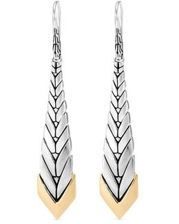 18k Yellow Gold Silver Weave Effect Drop Earrings