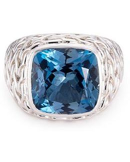 Topaz Silver Woven Chain Effect Signet Ring