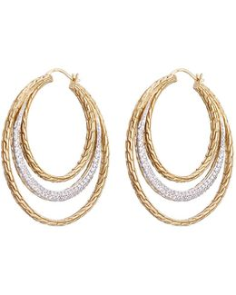 Diamond 18k Yellow Gold Chain Effect Concentric Hoop Earrings