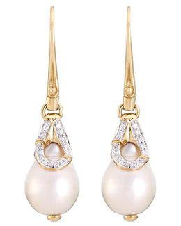 Diamond Freshwater Pearl 18k Yellow Gold Bamboo Drop Earrings