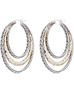 18k Yellow Gold Silver Hammered Chain Effect Concentric Hoop Earrings