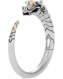 Sapphire 18k Yellow Gold Silver Naga Cuff