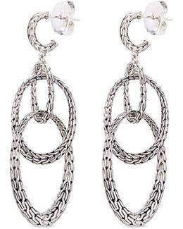 Silver Interlocking Hoop Drop Earrings