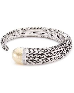 18k Yellow Gold Silver Hammered Tip Chain Effect Cuff