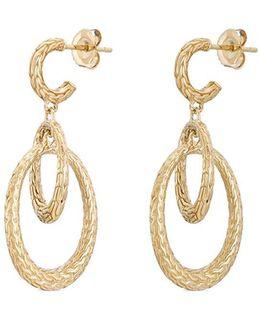 18k Yellow Gold Interlocking Hoop Drop Earrings