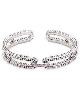 Diamond Silver Dotted Cutout Cuff