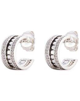 Diamond Silver Dotted Hoop Earrings