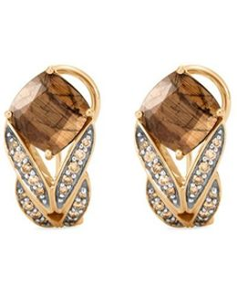 Diamond Sapphire 18k Yellow Gold Weave Effect Earrings