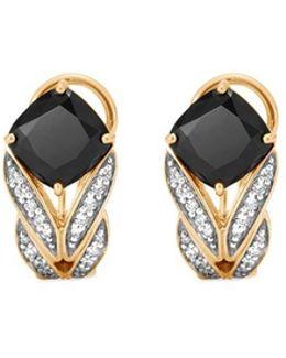 Diamond Onyx 18k Yellow Gold Weave Effect Earrings