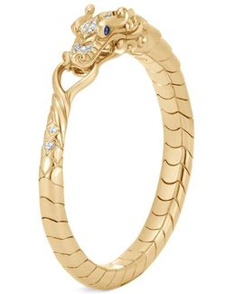 Diamond Sapphire 18k Yellow Gold Naga Bangle