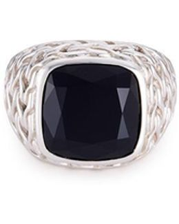 Onyx Silver Chain Effect Signet Ring