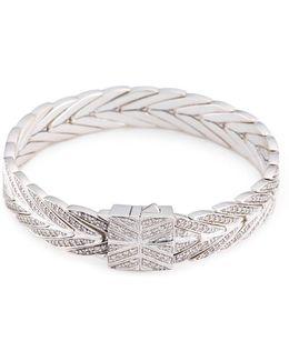 Diamond Silver Weave Effect Link Chain Bracelet