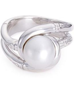 Freshwater Pearl Rhodium Silver Bamboo Ring