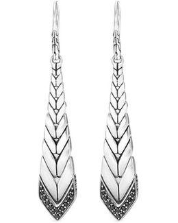 Sapphire Silver Weave Effect Drop Earrings