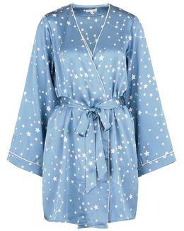 'langley' Constellation Print Silk Charmeuse Robe