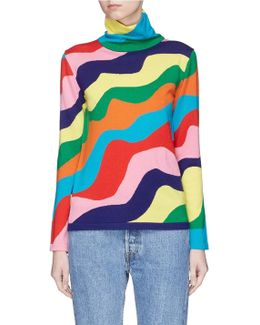 Rainbow Wavy Stripe Merino Wool Turtleneck Sweater