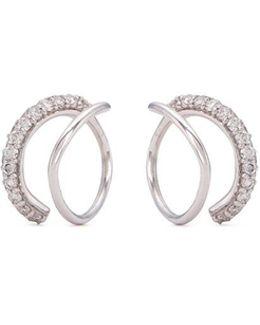 Diamond Silver Coil Hoop Earrings
