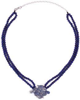 Diamond Sapphire Lapis 18k White Gold Dragon Pendant Necklace