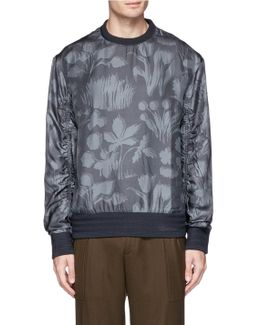 Floral Print Silk Blend Sweatshirt