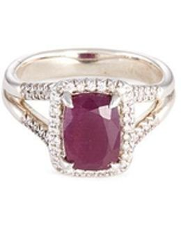 'magic Cut' Diamond Ruby Silver Ring