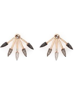 Ombré 5 Spike' Diamond 18k Rose Gold Fan Earrings