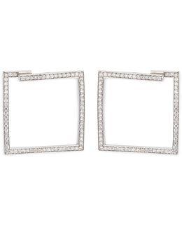 'box' Diamond Silver Cut-out Square Earrings